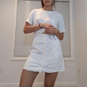 White Skirt with Crochet Eyelet Details